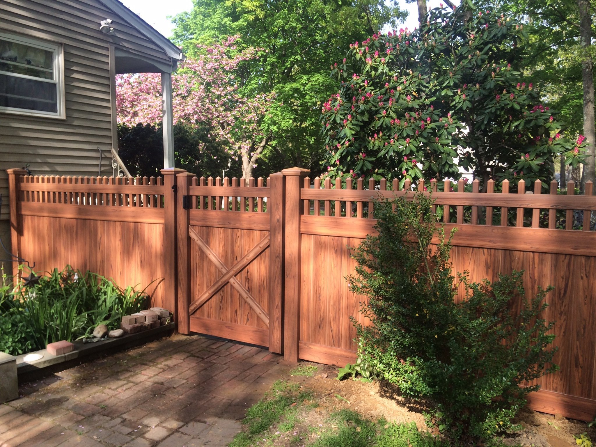 due to the nature of production like wood cedar pvc fences are unique in color and simulated grain the photos shown are only and